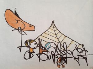 Josh Gaal ('17), ink drawing showing Egyptian characteristics