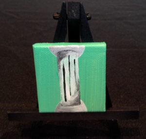 Sheridan Gallagher ('14), miniature acrylic painting of Greek Doric column.