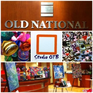 Photos of an exhibition of work created by Studio Outside the Box at Old National Bank