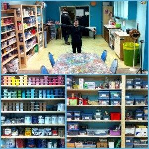 View of the Outside the Box Studio and the wide range of art supplies available to clients.