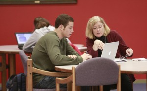 Irwin Library Now: Librarian Teresa Williams and a student collaborate on research