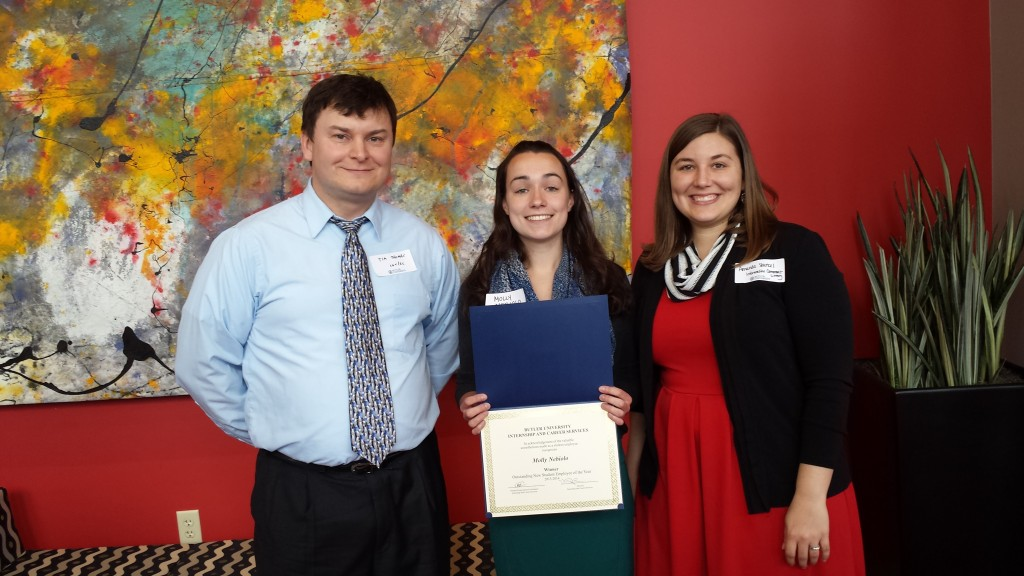 Tim Thomas, Associate Director, Center for Academic Technology, Molly Nebiolo, Winner New Student Employee of the Year, and Amanda Starkel, Information Commons and eLearning Librarian