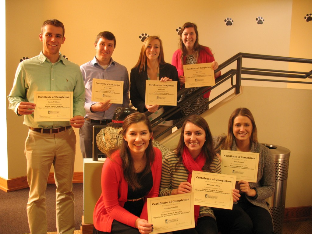 Pictured are some of the interns from the Butler Business Consulting Group who earned a Certificate of Completion for the Business Research Workshop.
