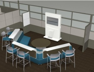 Computer rendering of a demonstration theater with a large monitor and laptop on a cart and semi-circular bench seating, behind which are high counter tops and six stools for additional seating.