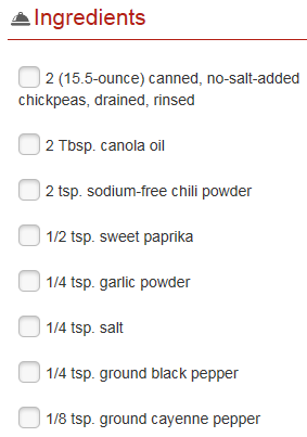 chickpea ingredients