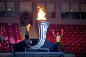 Lighting of the Olympic torch during the opening ceremonies.