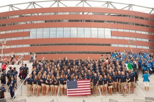 Picture of nearly all of Team USA athletes and coaches before the opening ceremonies in front of Arena Armeec.