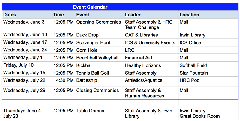 Summer Games Schedule