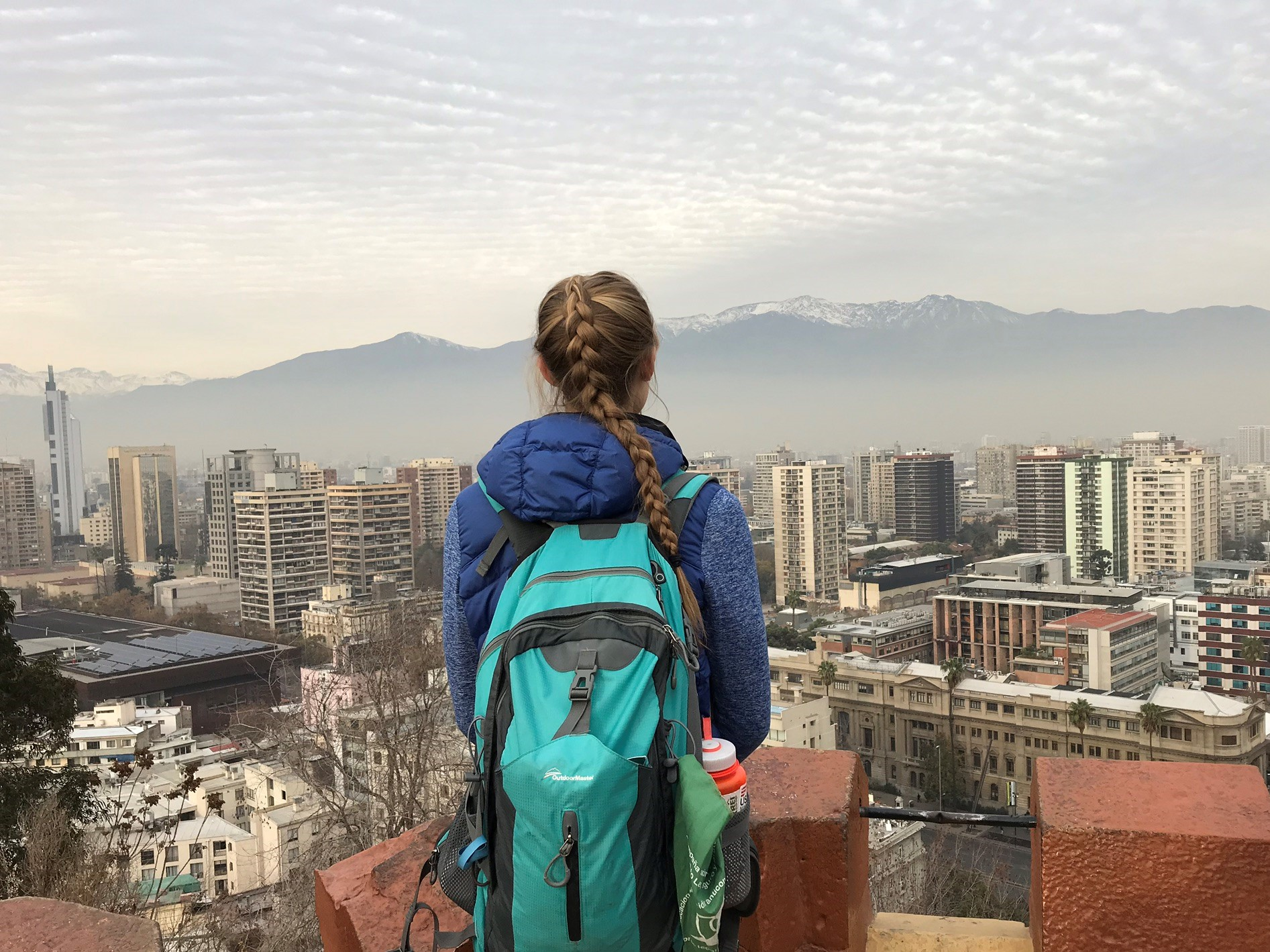Katie Brownlee looking over Santiago, Chile