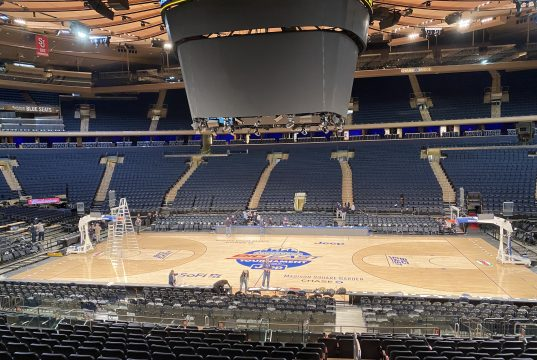 An empty Madison Square Garden just after the Big East Tournament cancelation.